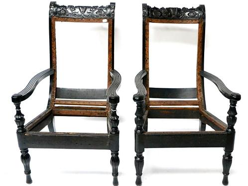 C19th pair of ebony celonese chairs