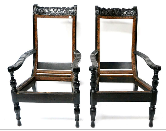 C19th pair of ebony celonese chairs