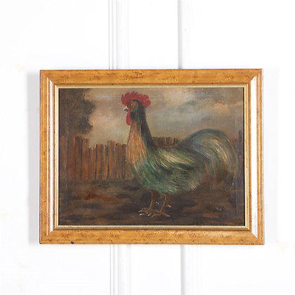 C19th Oil On Canvas of a Cockerel