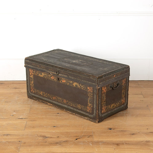 19th Century leather and brass studded trunk