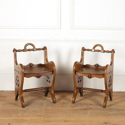 A Stylish Pair of C19th Oak Stools