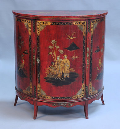 C19th red lacquer side cabinet