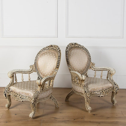Early C20th pair of Anglo Indian Bone Inlaid Chairs