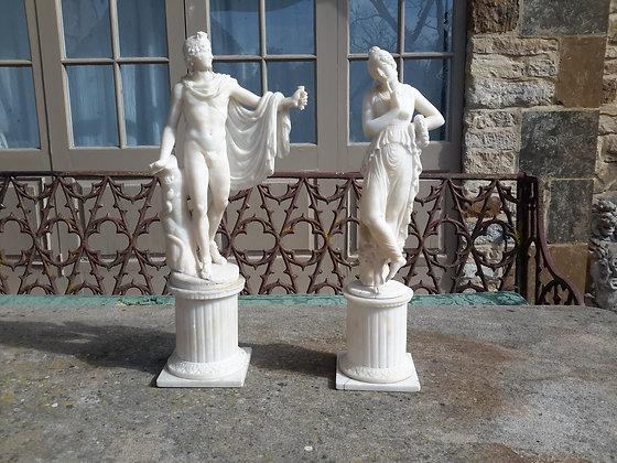 C19th pair Grand Tour alabaster figures