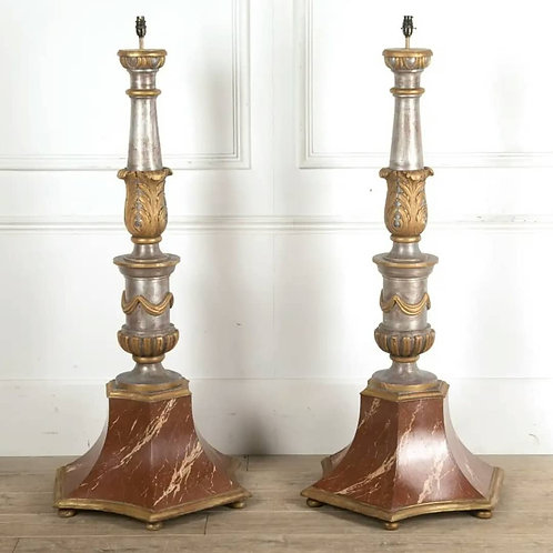 Pair of C19th Gilt and Marbleized Standard Lamps