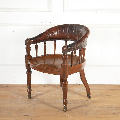 19th oak and leather desk chair