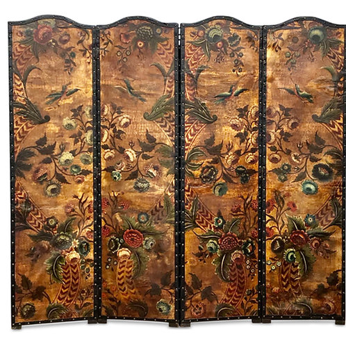 19th Century Decorated Leather Screen