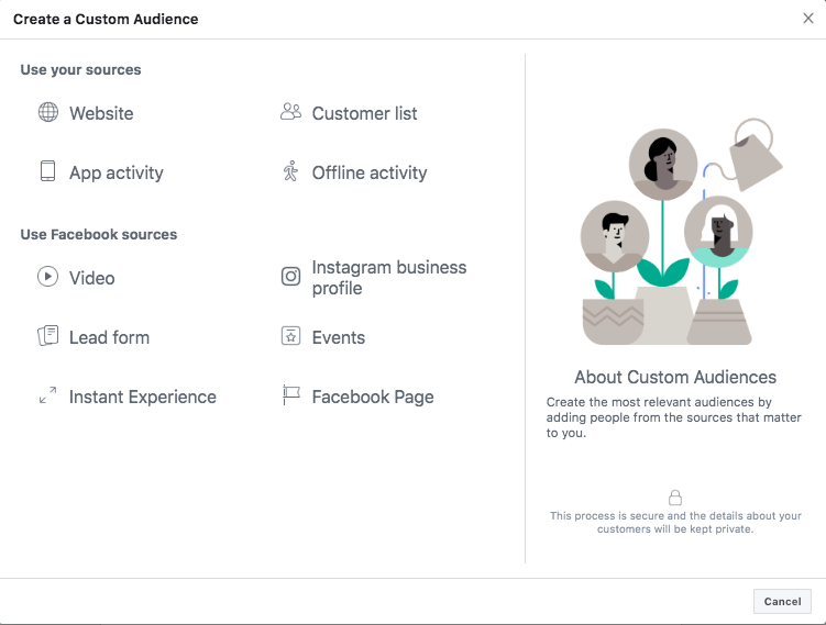 You can use advanced settings to produce a Custom Audience to engage users who have had previous interactions with your brand. Or, you can create a Lookalike segment to engage new Facebook users who resemble your most important audiences.