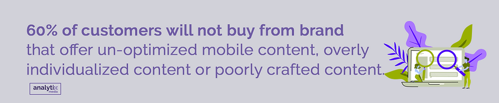 60% of customers will not buy from brand that offer un-optimized mobile content, overly individualized content or poorly crafted content.
