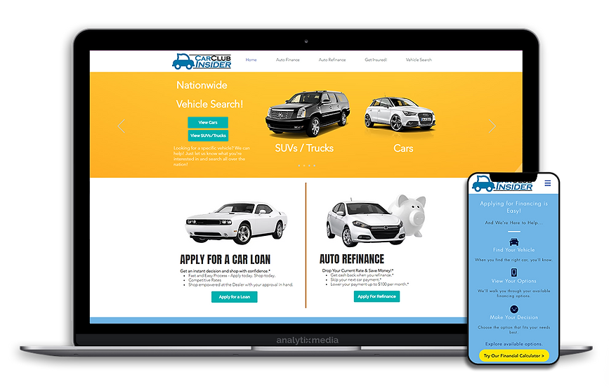 Car Club Insider is an automotive research and shopping platform that aids users in comparing local listings for new and used vehicles, contacting sellers, and applying for auto-loans from approved lenders.