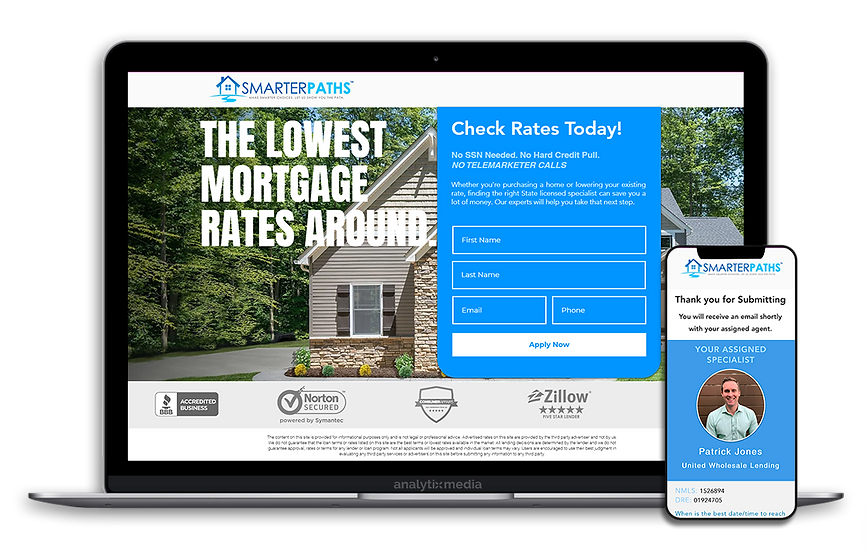 Smarter Paths is a mortgage and refinance lead broker servicing some of the largest mortgage lenders in the nation. Smarter Paths generates live mortgage and refinance leads which are in turn sold off to the highest bidding wholesale lenders. Providing quality and high converting leads is a key factor in Smarter Paths overall success.