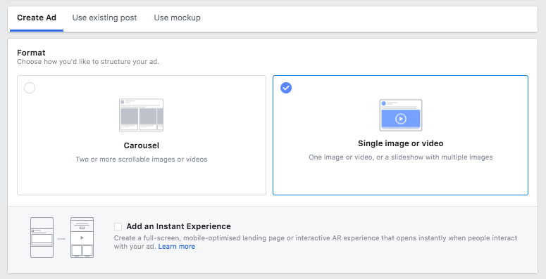 Now, you can get around to designing your ads. Facebook enables you to easily craft a converting ad – simply follow the steps to select your ad, media, ad format and copy.