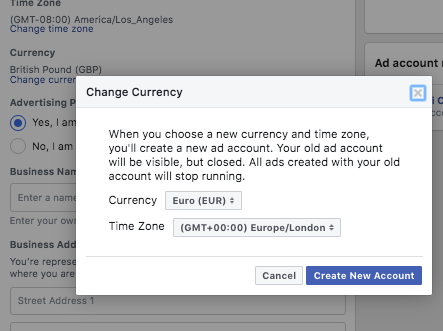 Next, you need to provide some details before creating your first ad. You can go the account setup section and confirm your preferences. Facebook will assign an account ID for your business page and define your time zone and currency based on your location.