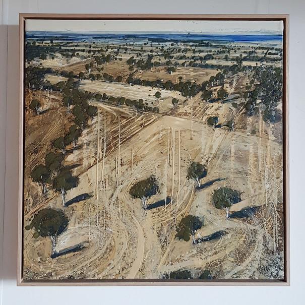 'You've Got Some Explaining to Do' 60 x 60 cm, oil and wax on board. Framed n Tasmaniam oak. $1200