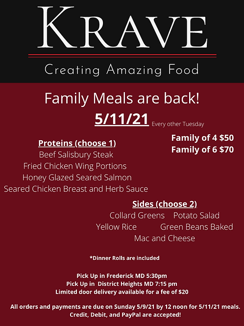 Family Meals for 4 5/11/21 Pick Up