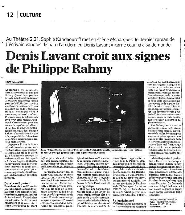 critique Monarques Le Courrier 13.04.18.