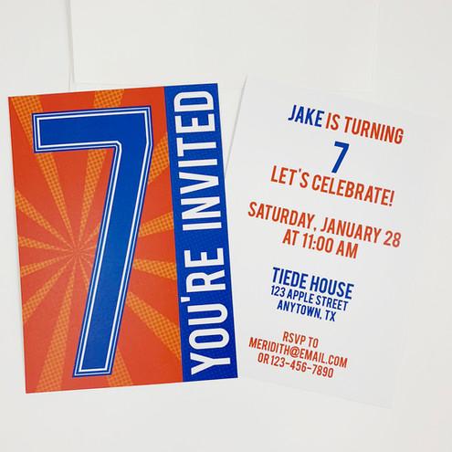 Blue and Orange Boy Invitation