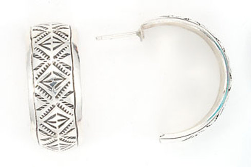 Hand Stamped Sterling Silver Hoop Earrings