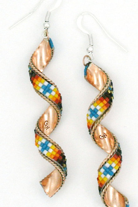 Beaded Copper Swirl Earrings