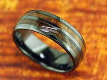 High Tech Ceramic Koa Wood Double Row Ring Black