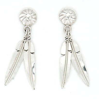 Sterling Silver Hand Crafted Feather Earrings