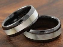 Black Ceramic Natural Shell Inlaid Ring 8mm