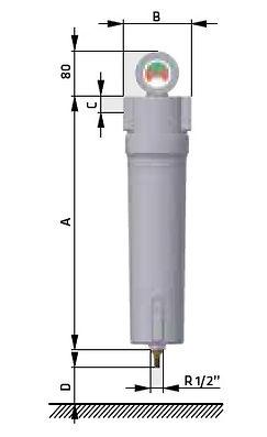 Размеры фильтра сжатого воздуха