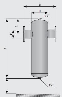 Сепаратор сжатого воздуха с фланцевым присоединением, размеры