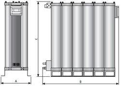 Модульные осушители адсобционного типа, размеры и пропускная способность