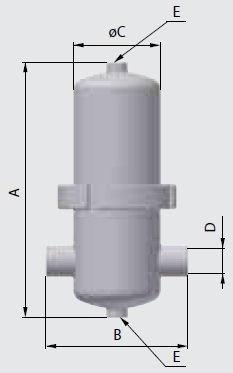 Размеры и подключения стерильных фильтров газов, жидкостей и сжатого воздуха