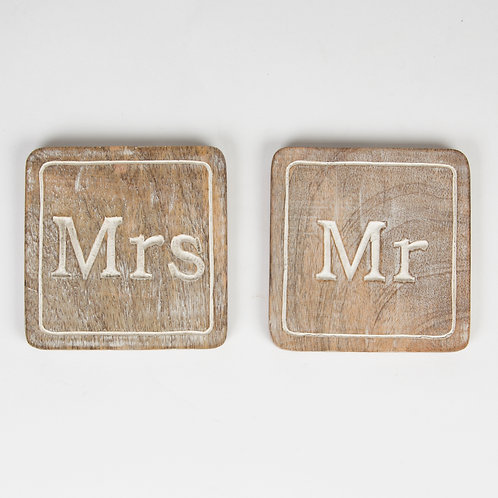 Mr and Mrs Wooden Coaster Set