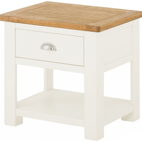 Oban White Lamp Table with drawer