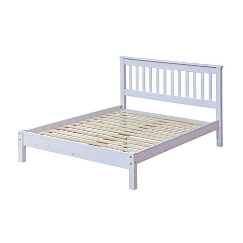 4ft6 Albany Rustic White Bedframe