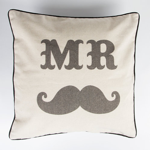 Mr and Mrs Moustache and Kiss Cushion Set