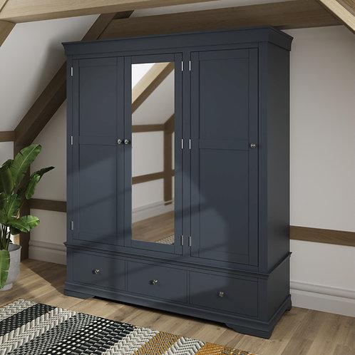 Skipton Midnight Grey3 Door 3 Drawer Robe