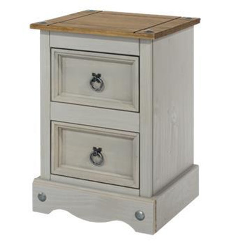 Albany Rustic Grey 2 Drawer  Petite Bedside