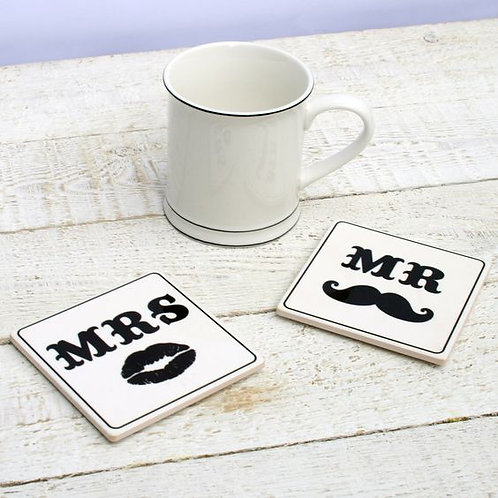 Mr and Mrs Moustache and Kiss Coaster Set