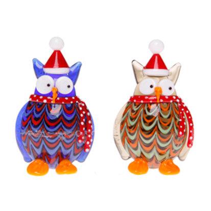 Festive Glass Owl