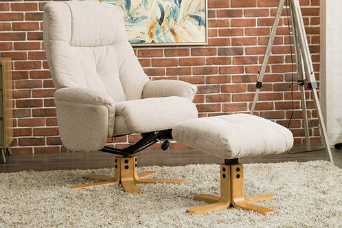 Dubai Swivel Chair and Footstool - Lisbon Wheat