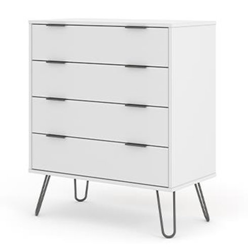 Georgia Industrial White 4 drawer wide Chest