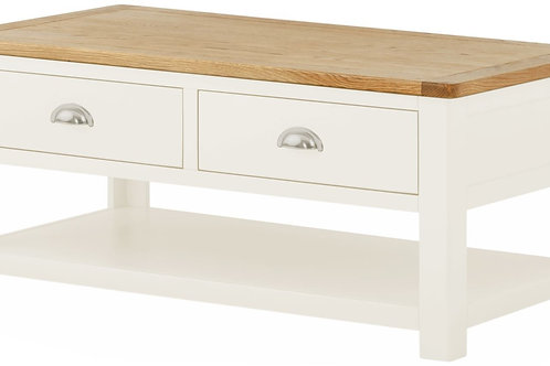 Oban White Coffee Table with Drawers
