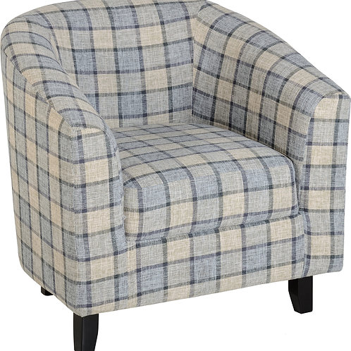 Heritage Tub Chair - Blue/Grey Check
