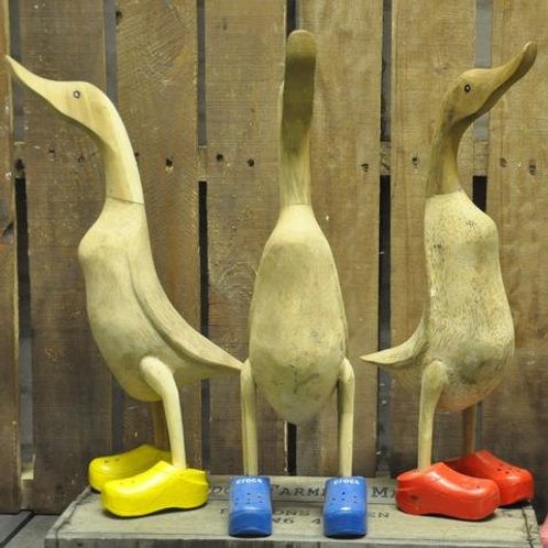 Large Wooden Duck with Crocs