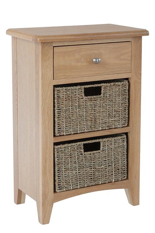 WM Oak 1 Drawer 2 Basket Unit