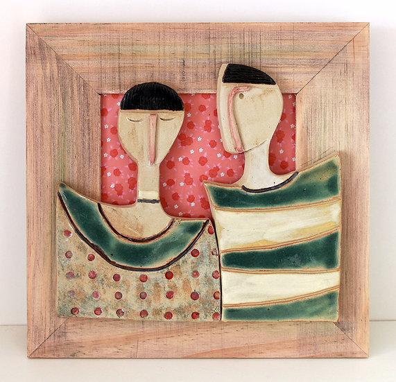 Cadre bois et céramique - 1