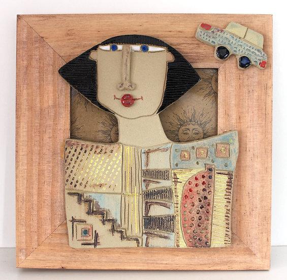Cadre bois et céramique - 23