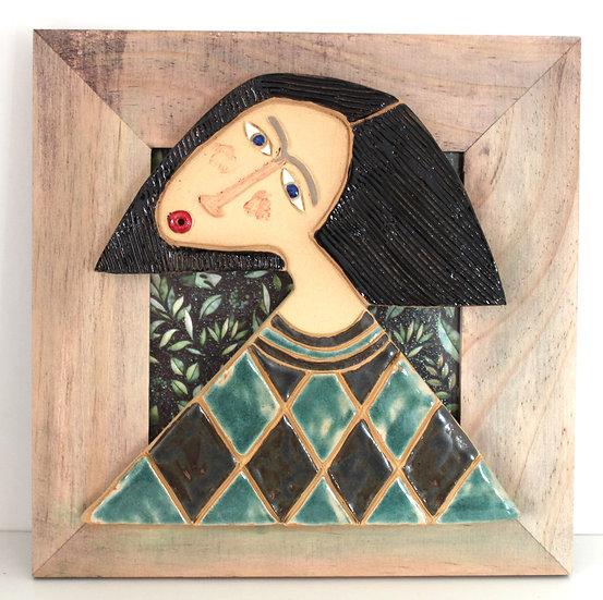 Cadre bois et céramique - 25