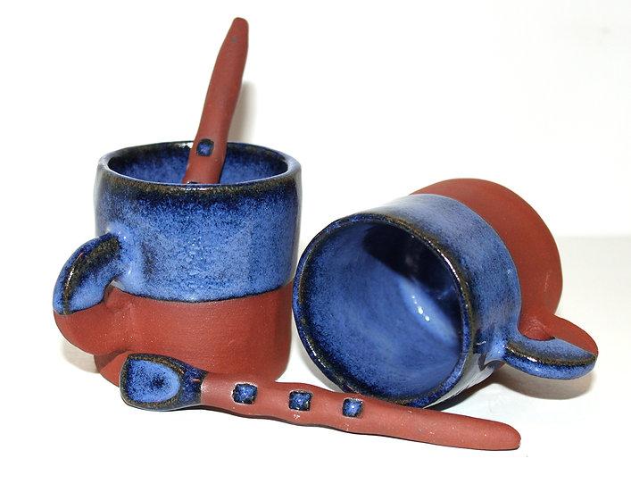 """Lot de 2 tasses """"Lagune"""" avec touillettes"""