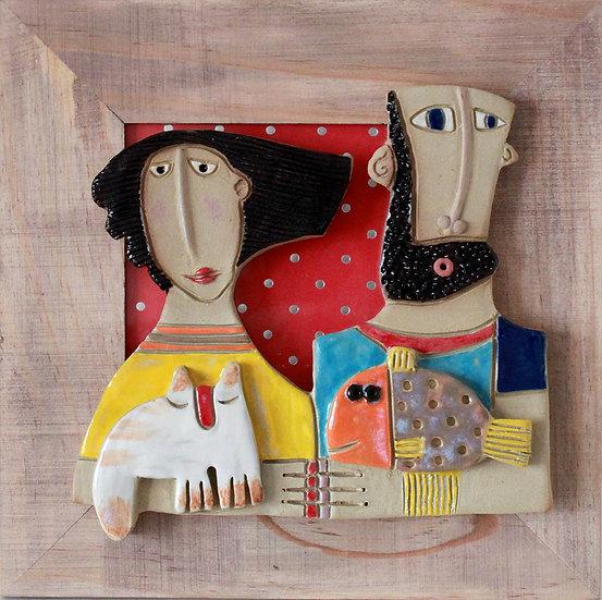 Cadre bois et céramique - 30