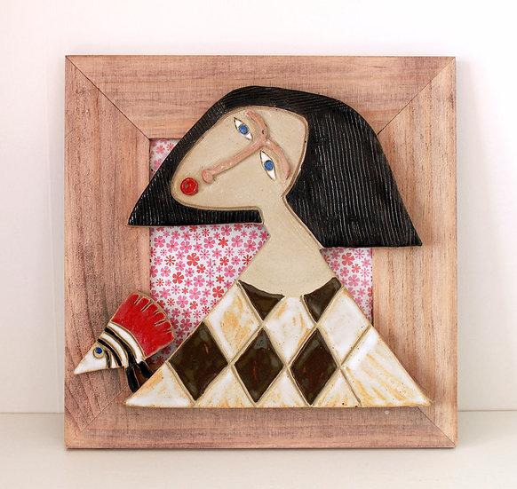 Cadre bois et céramique - 2